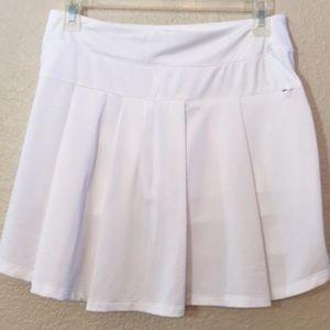 White pleated Nike drifit flounce tennis skirt